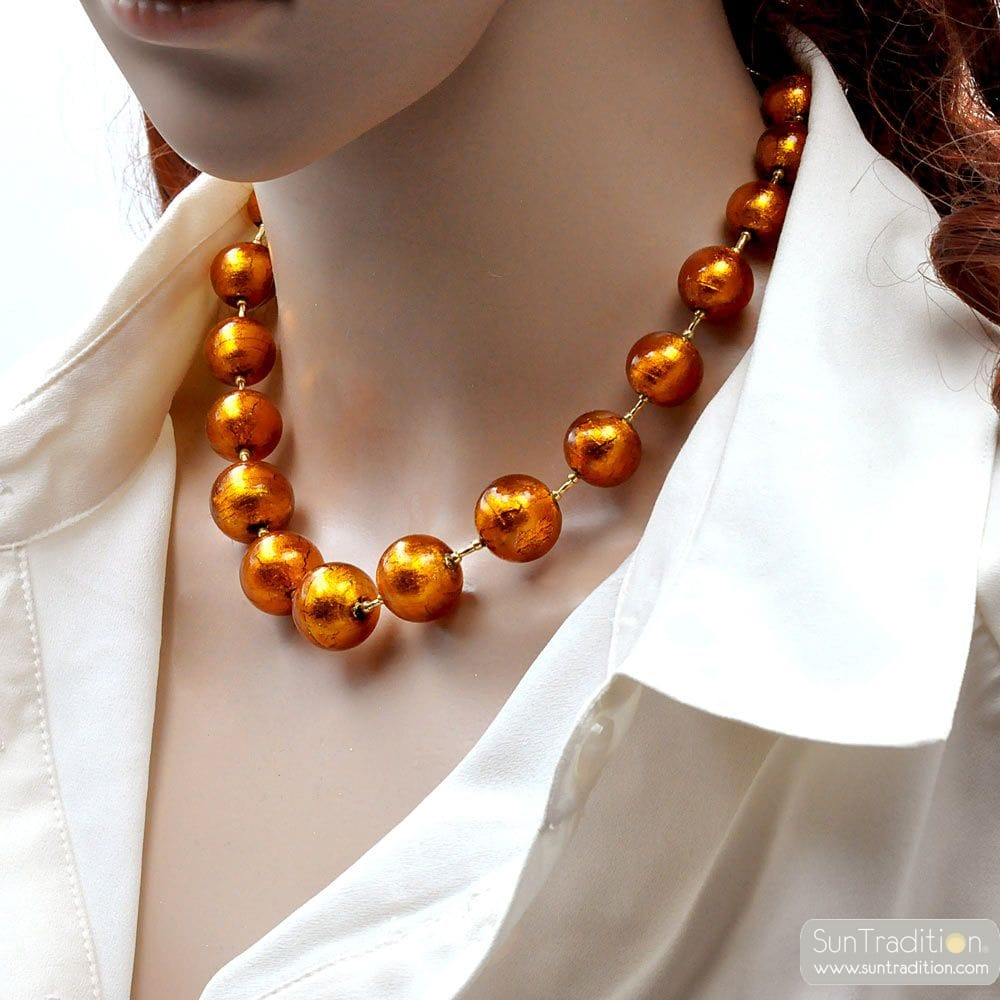 AMBER MURANO GLASS NECKLACE OF VENICE