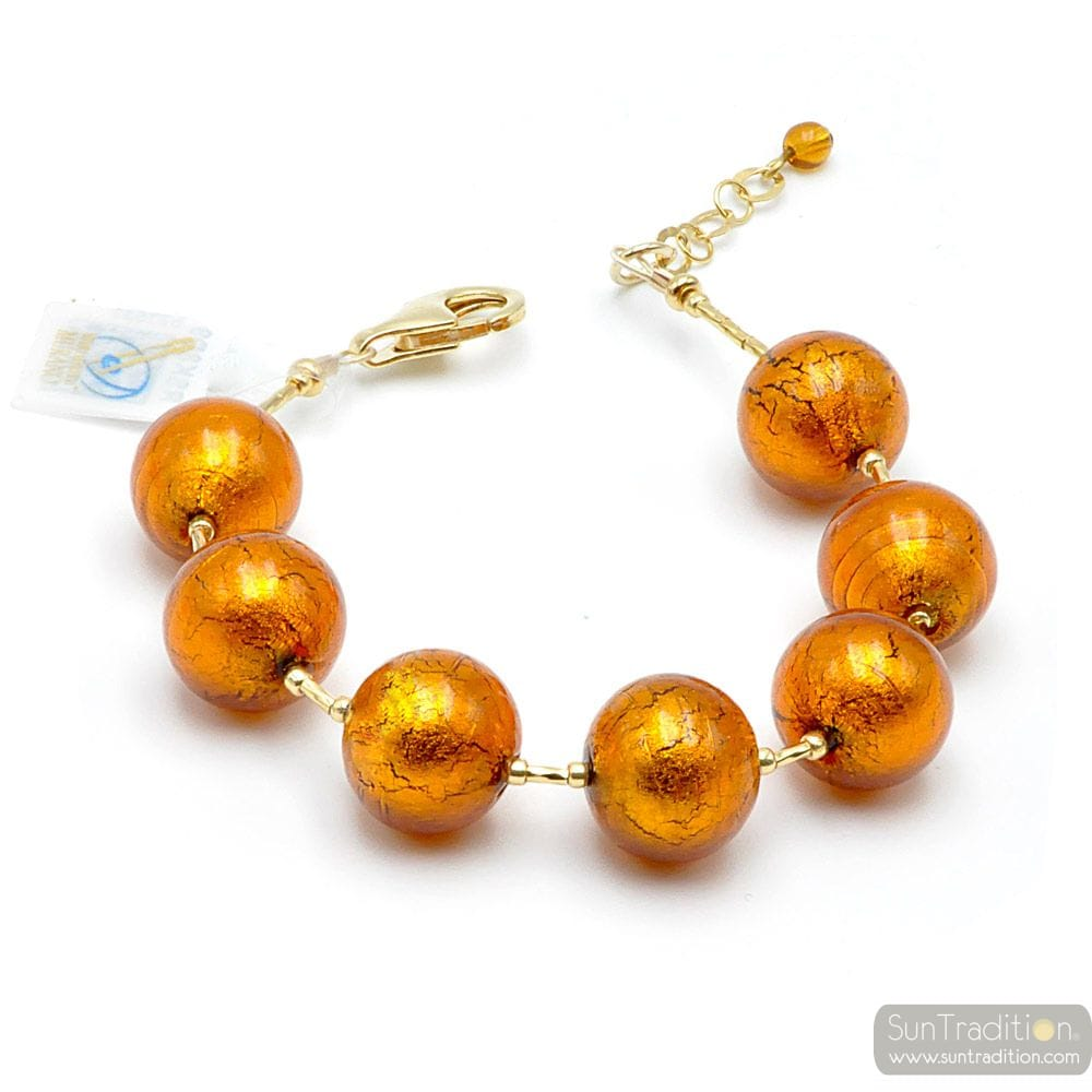 AMBER MURANO GLASS BRACELET FROM VENICE