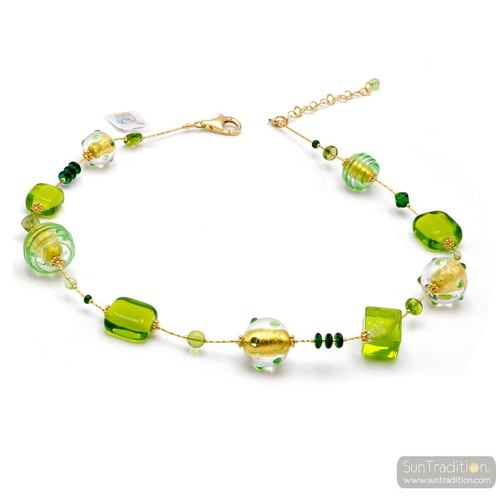 GREEN AND GOLD NECKLACE JEWELRY IN GENUINE MURANO GLASS FROM VENICE