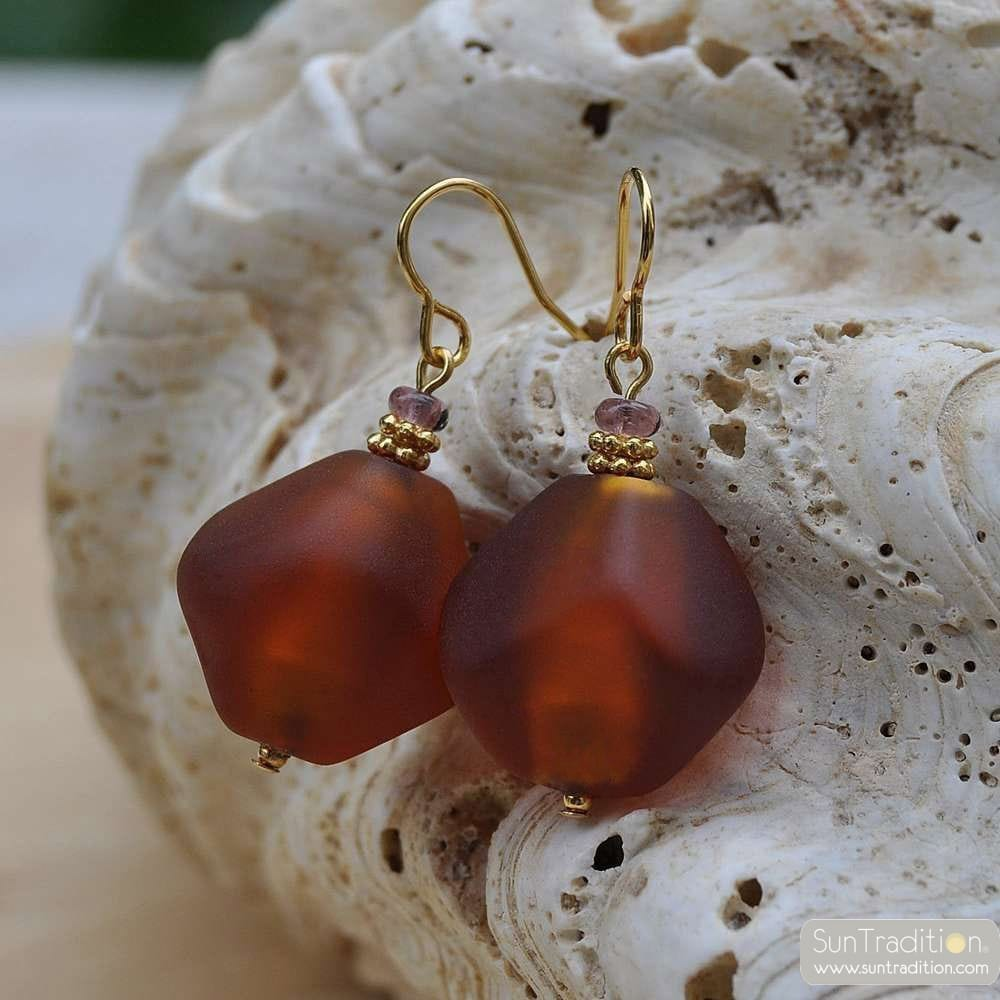 SCOGLIO SATIN AMBER EARRINGS GENUINE MURANO GLASS VENICE
