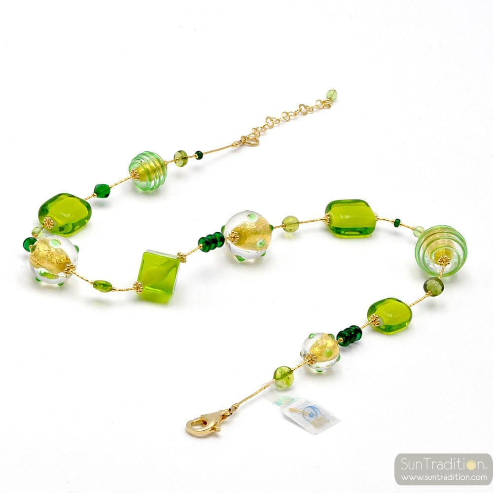 GREEN NECKLACE JEWELRY IN GENUINE MURANO GLASS FROM VENICE