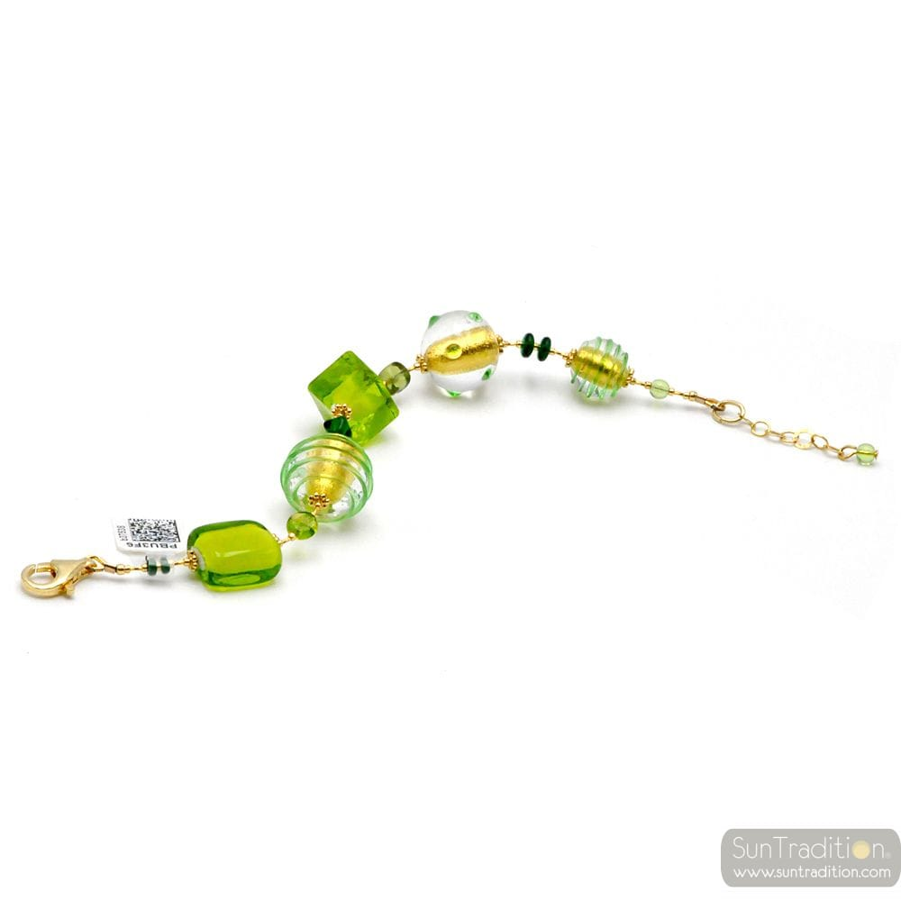 GREEN AND GOLD MURANO GLASS BRACELET OF VENICE