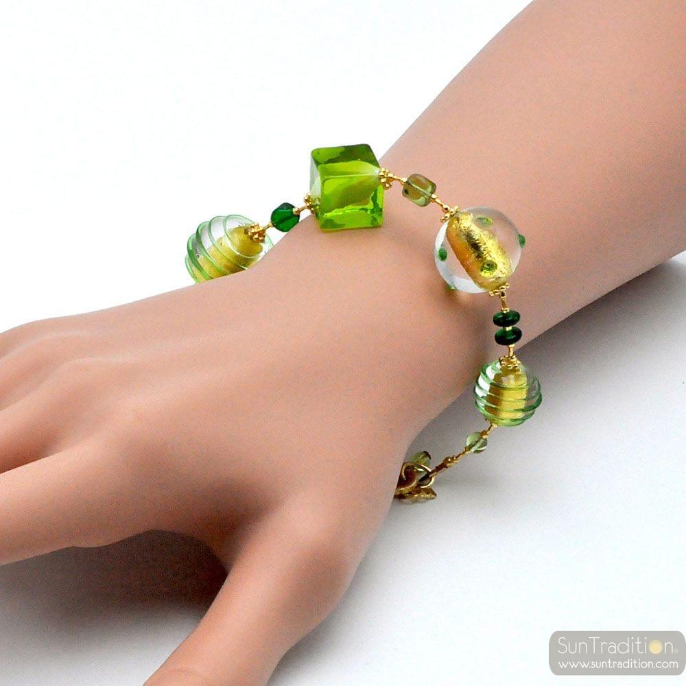 GREEN MURANO GLASS BRACELET OF VENICE
