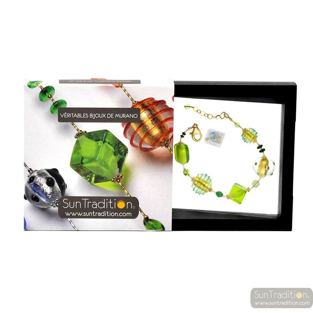 JOJO GREEN AND GOLD - GREEN AND GOLD GENUINE MURANO GLASS BRACELET OF VENICE