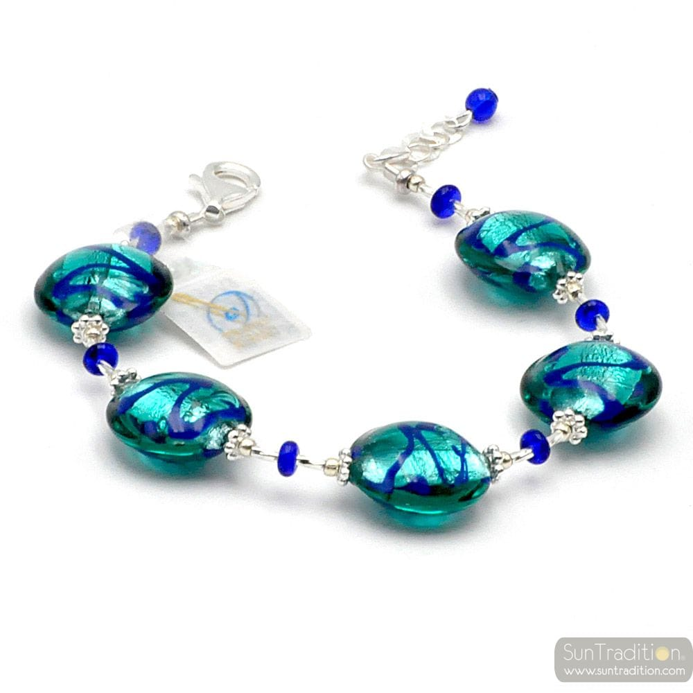 CHARLY LAPIS BLUE - ARMBAND BLAUW IN ORIGINELE MURANO GLAS UIT VENETIË