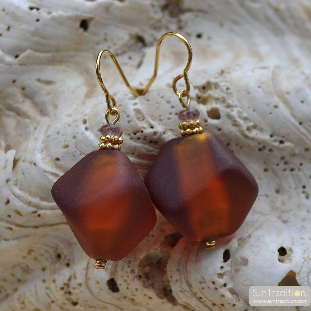 BOUCLES D'OREILLES VERRE MURANO ORANGE SATIN