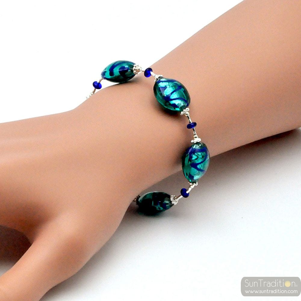 BLUE LAPIS MURANO GLASS BRACELET FROM VENICE