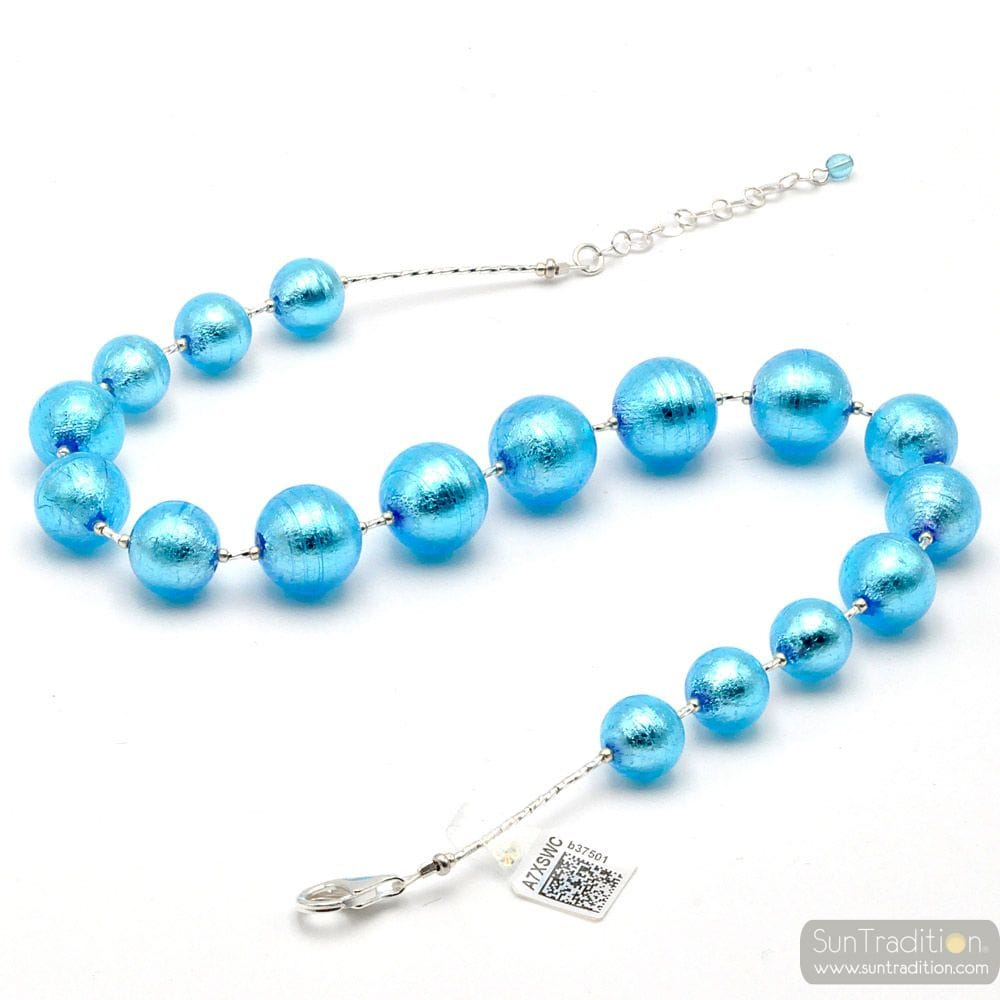 CLEAR BLUE MURANO GLASS NECKLACE OF VENICE