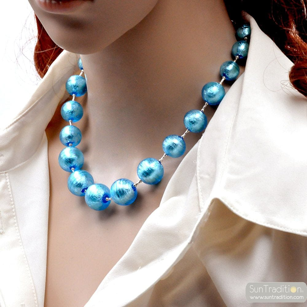 BLUE MURANO GLASS NECKLACE OF VENICE