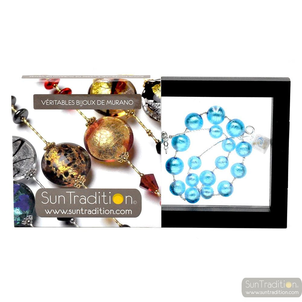 BALL CLEAR BLUE - CLEAR BLUE MURANO GLASS NECKLACE OF VENICE