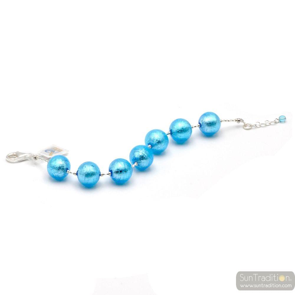 BALL LIGHT BLUE - LIGHT BLUE MURANO GLASS BRACELET OF MURANO IN VENICE