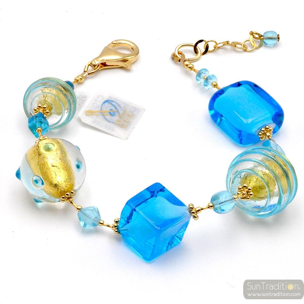 BLUE AND GOLD MURANO GLASS BRACELET OF VENICE