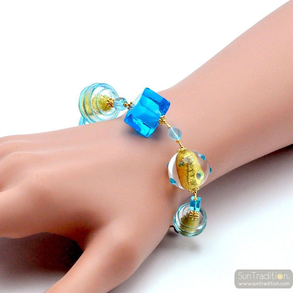 BLUE AND GOLD MURANO GLASS BRACELET OF VENICE