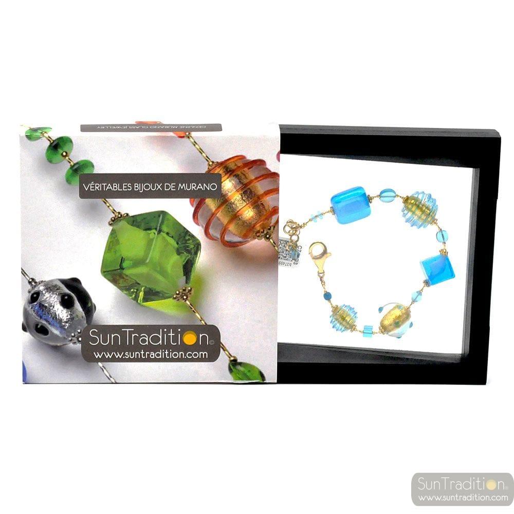 JOJO BLUE AND GOLD - BLUE AND GOLD MURANO GLASS BRACELET OF VENICE