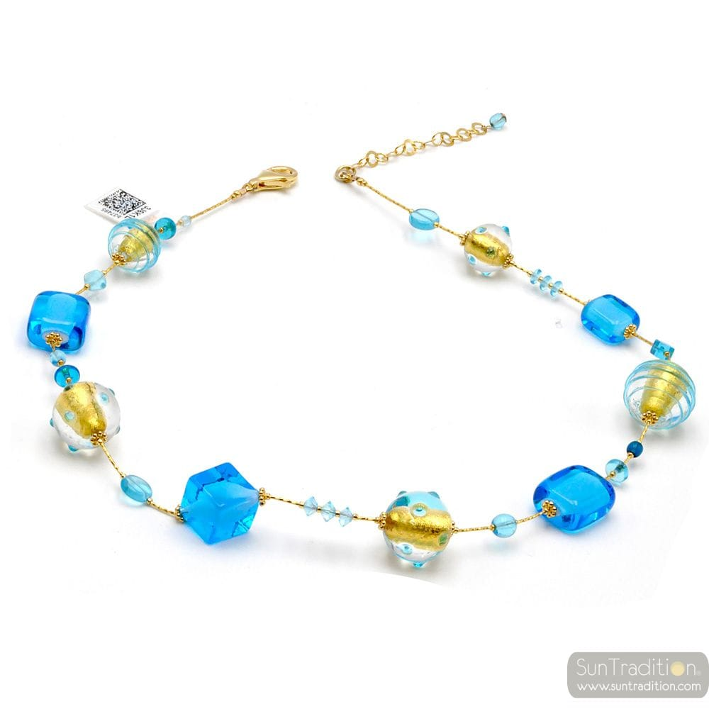 BLUE AND GOLD MURANO GLASS NECKLACE JEWELLERY GENUINE OF VENICE