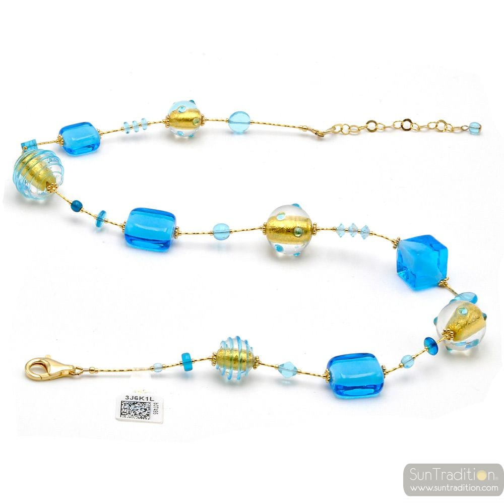 BLUE AND GOLD MURANO GLASS NECKLACE