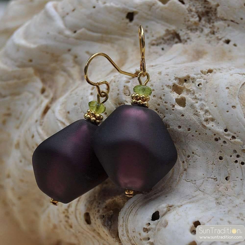 amethyst murano glass jewelry earrings
