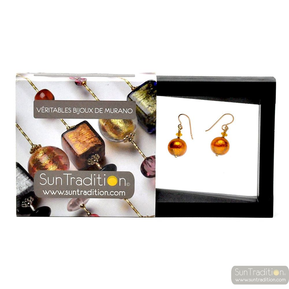 AMBER MURANO GLASS EARRINGS GENUINE JEWELRY FROM VENICE