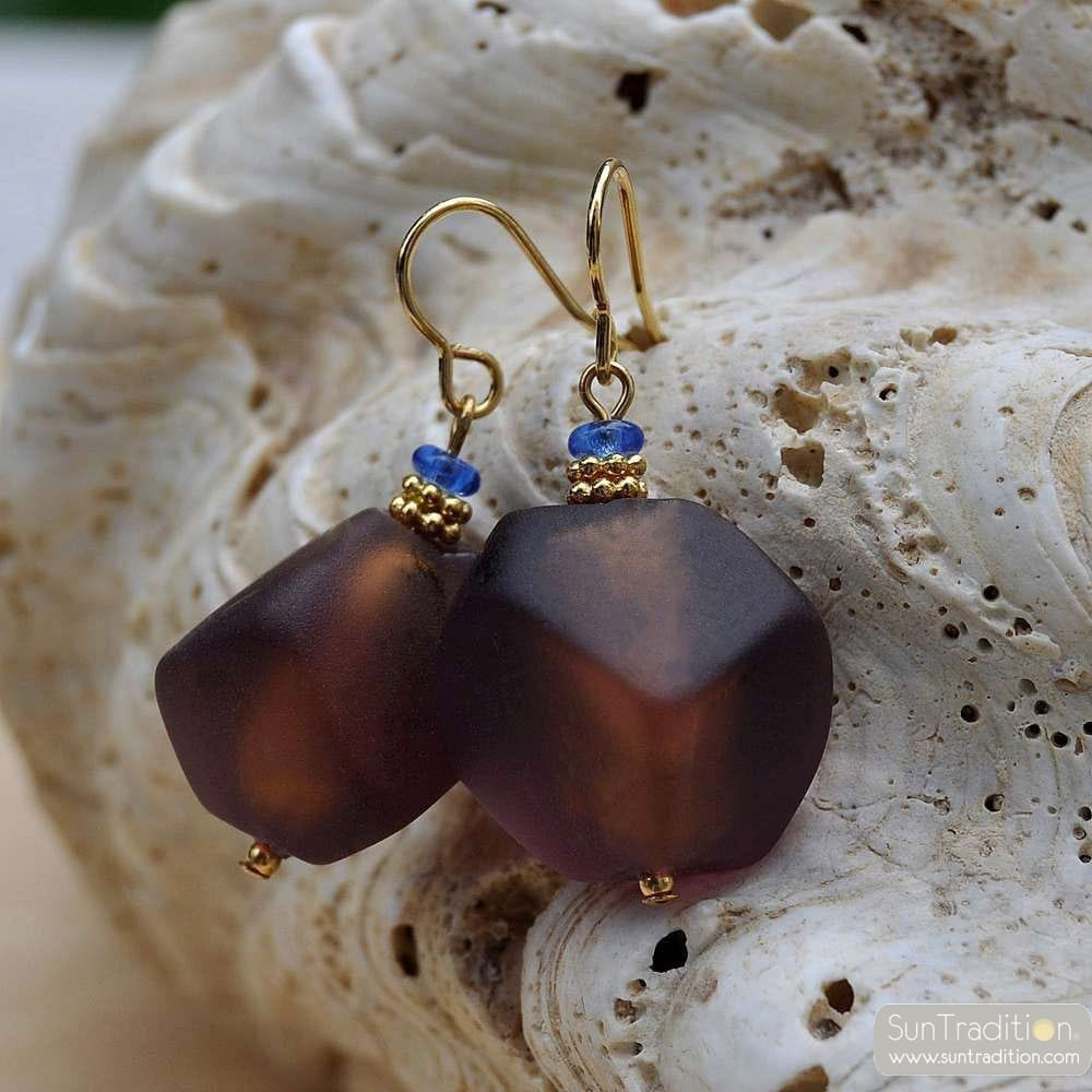 BROWN COLA MURANO GLASS EARRINGS
