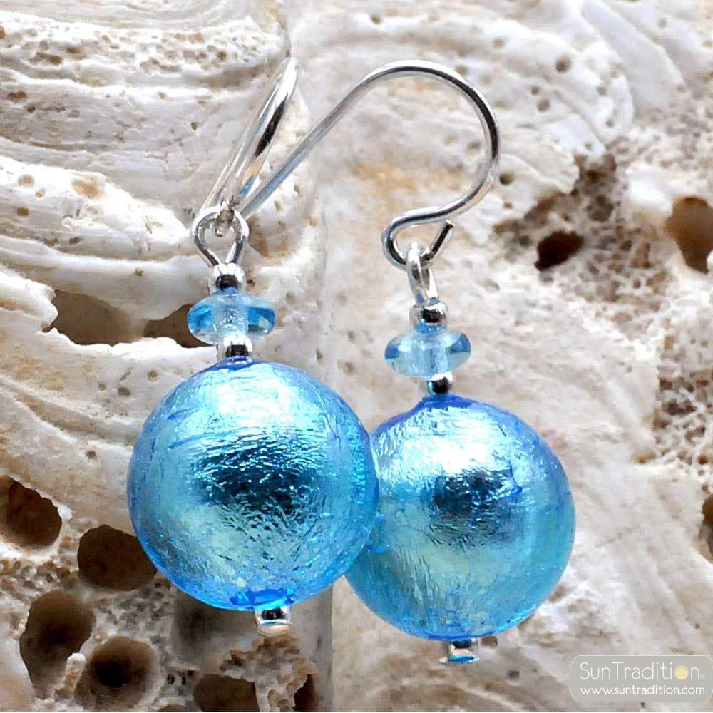 BLUE MURANO GLASS EARRINGS JEWELRY GENUINE FROM VENICE