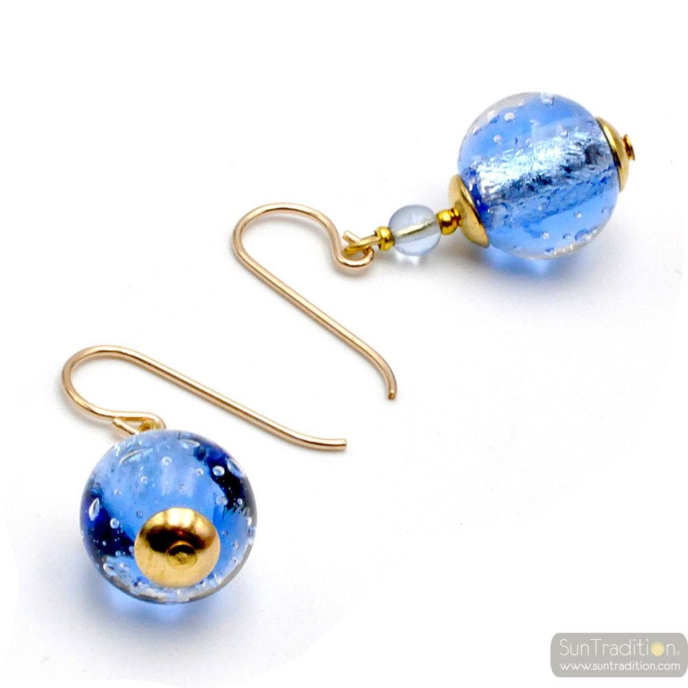 FIZZY BLUE - BLUE MURANO GLASS EARRINGS