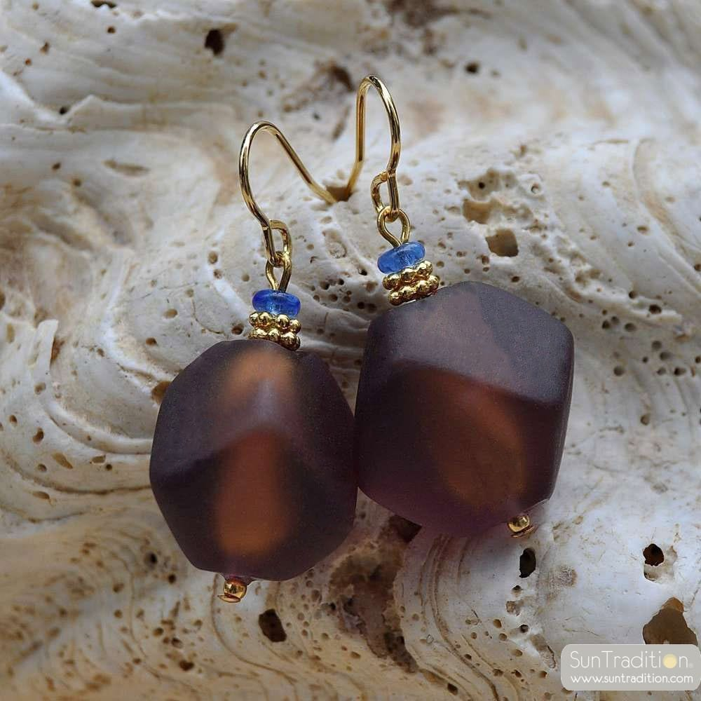 brown murano glass jewelry earrings