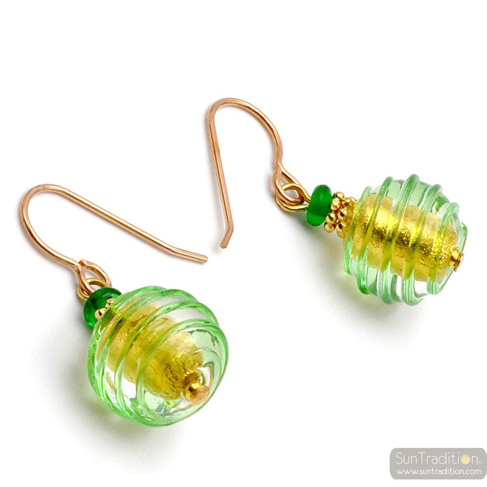 GREEN MURANO GLASS EARRINGS JEWEL GENUINE OF VENICE