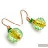 JOJO GREEN AND GOLD - GREEN MURANO GLASS EARRINGS JEWEL GENUINE OF VENICE
