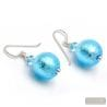 BALL LIGHT BLUE - BLUE MURANO GLASS EARRINGS JEWELRY GENUINE FROM VENICE