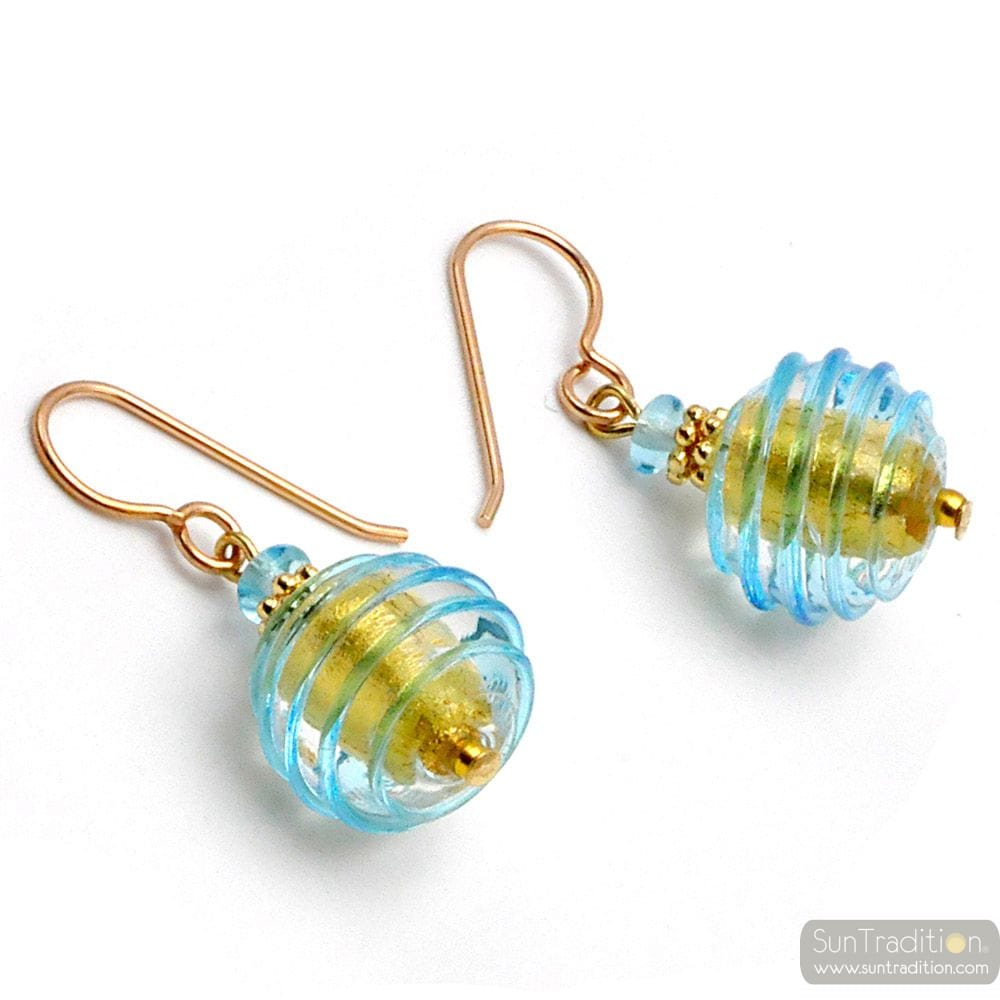 BLUE MURANO GLASS EARRINGS JEWEL GENUINE OF VENICE