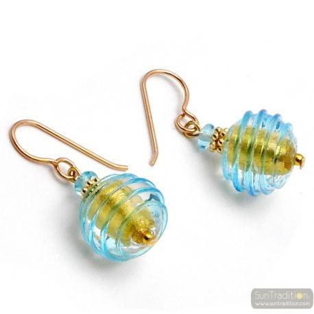 BLUE MURANO GLASS EARRINGS JEWEL GENUINE OF VENICE
