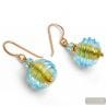 JOJO BLUE AND GOLD - BLUE MURANO GLASS EARRINGS JEWEL GENUINE OF VENICE