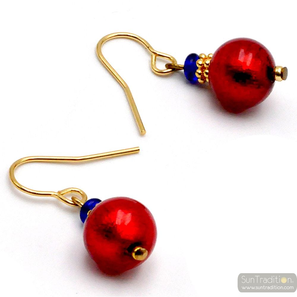RED MURANO GLASS EARRINGS GENUINE VENITIAN GLASS