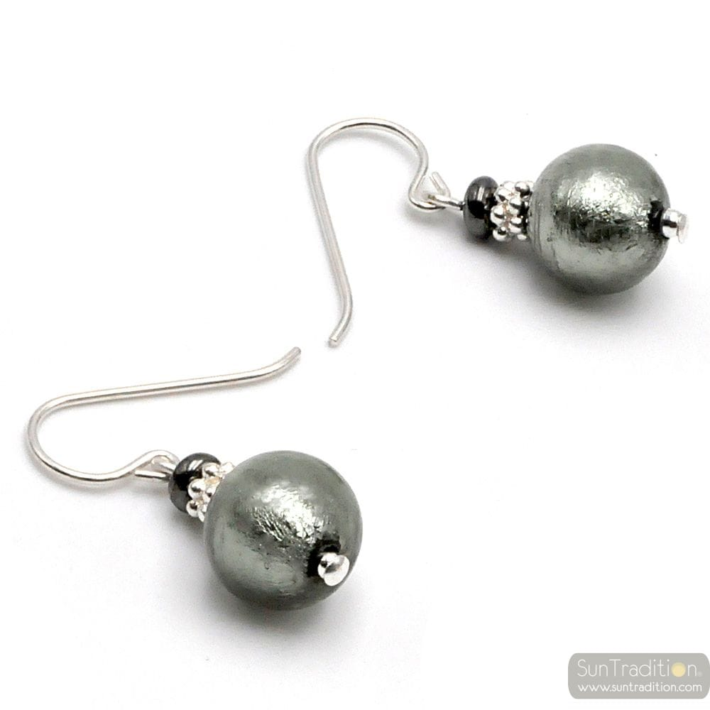GREY SILVER MURANO GLASS EARRINGS GENUINE VENITIAN GLASS