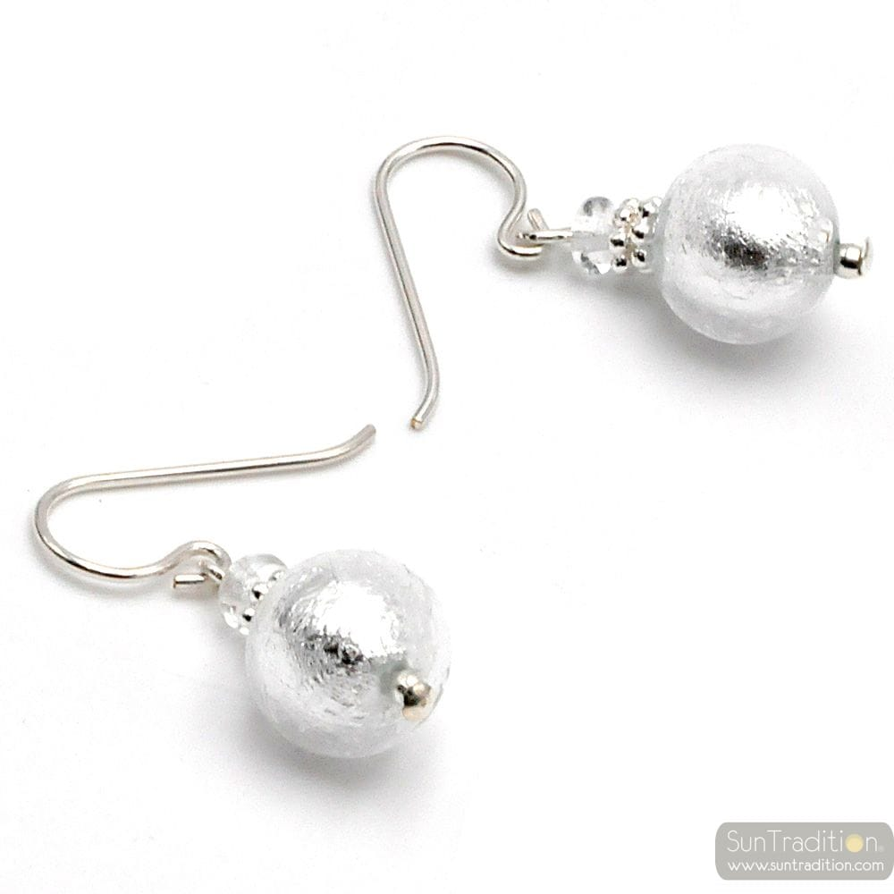 SILVER MURANO GLASS EARRINGS GENUINE VENITIAN GLASS