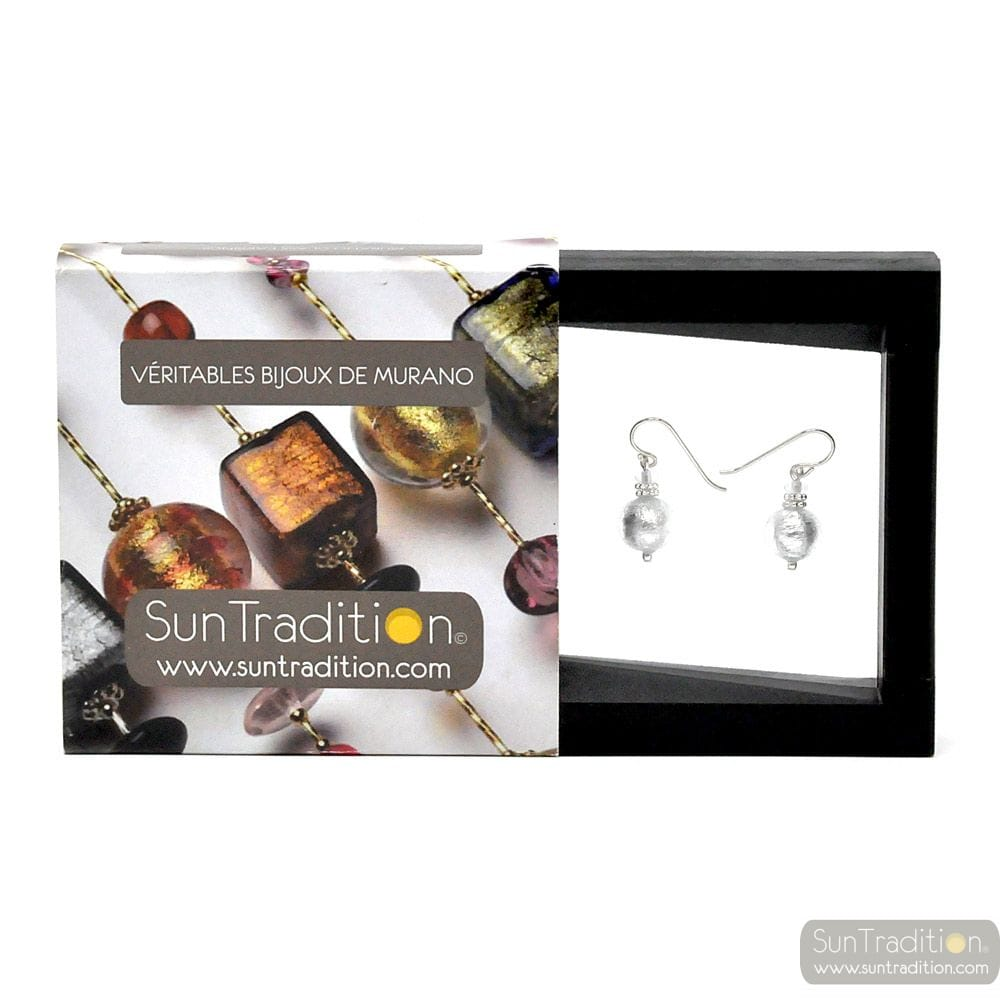 PENELOPE SILVER - SILVER MURANO GLASS EARRINGS GENUINE VENITIAN GLASS