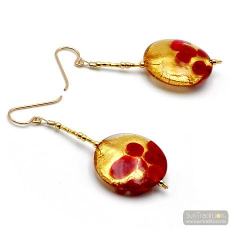 RED AND GOLD DROP MURANO GLASS EARRINGS