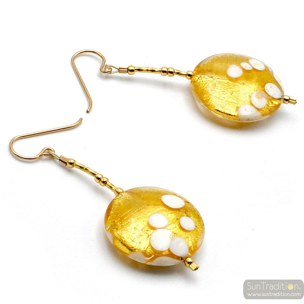 SUNSET OR - BOUCLES D'OREILLES PENDANTES PASTILLES OR EN VERITABLE VERRE DE MURANO DE VENISE