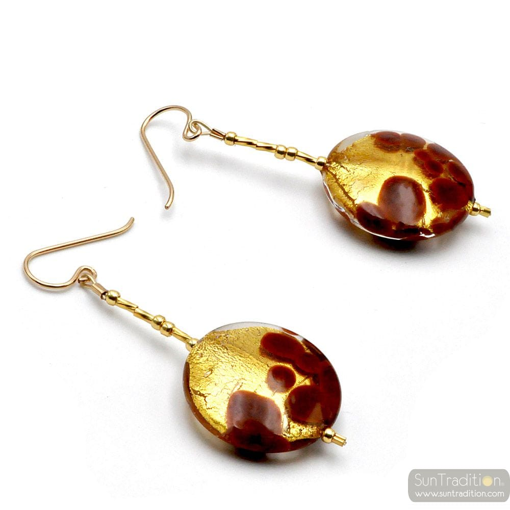 SUNSET MARRON - BOUCLES D'OREILLES PENDANTES PASTILLES MARRON ET OR EN VERITABLE VERRE DE MURANO DE VENISE