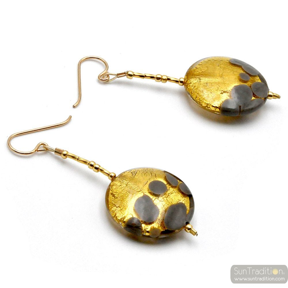 SUNSET GREY - GREY AND GOLD DROP EARRINGS GENUINE MURANO GLASS OF VENICE