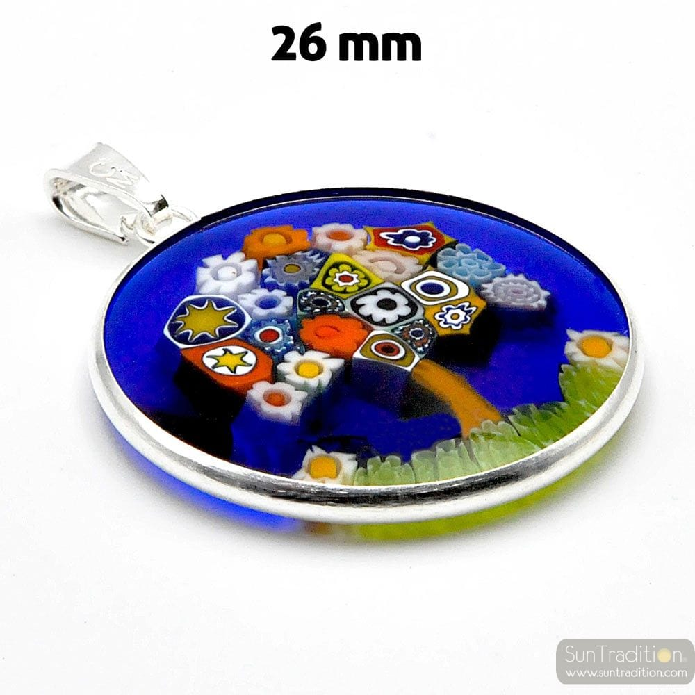 MILLEFIORI TREE OF LIFE SILVER PENDANT MURANO GLASS