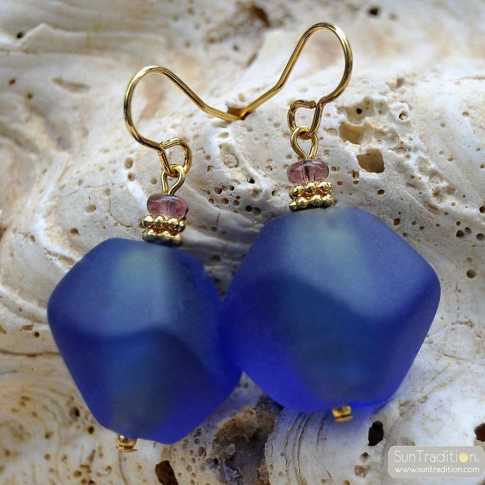 SCOGLIO SATIN BLUE EARRINGS GENUINE VENICE MURANO GLASS
