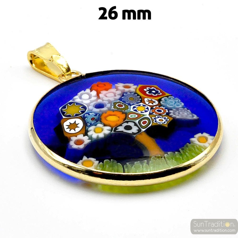 GOLD PENDANT MURANO GLASS MILLEFIORI TREE OF LIFE