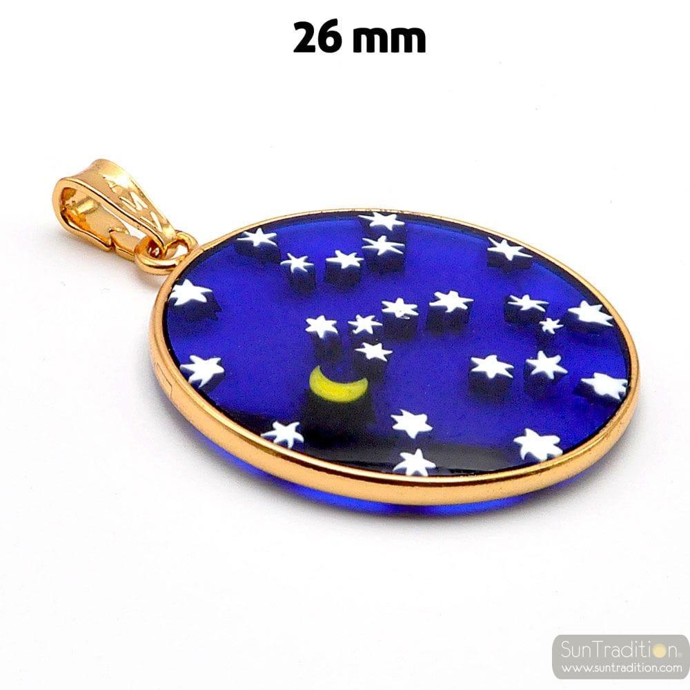GOLD PENDANT MILLE FIORI STARRY SKY BLUE