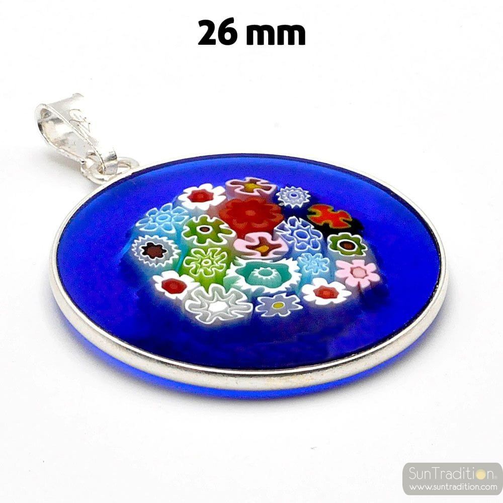 PENDANT, MURANO GLASS MILLEFIORI BLUE AND SILVER