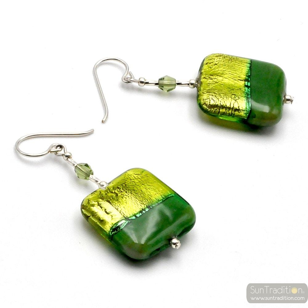 GREEN MURANO GLASS EARRINGS