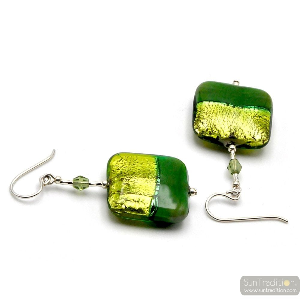 BURANO GREEN EARRINGS MURANO GLASS OF VENICE
