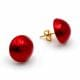 RED EARRINGS BUTTONS - RED EARRINGS JEWELRY GENUINE MURANO GLASS VENICE