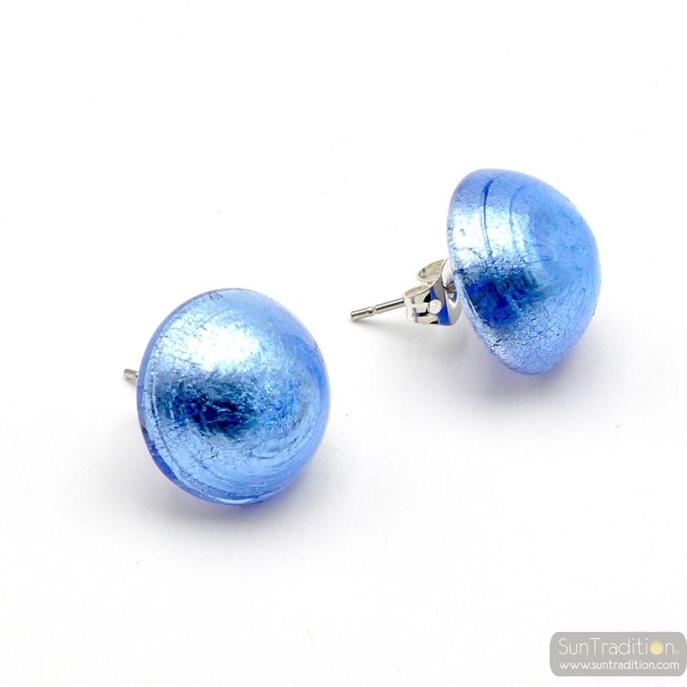 BLUE EARRINGS BUTTONS - EARRINGS JEWELRY GENUINE MURANO GLASS VENITIAN