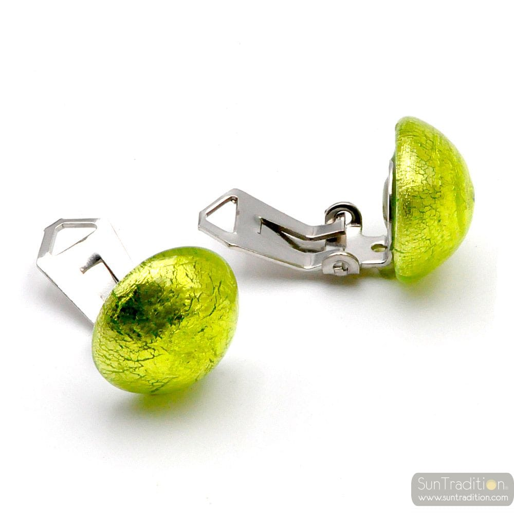 ANIS GREEN EARRINGS BUTTONS - GREEN EARRINGS JEWELRY GENUINE MURANO GLASS VENICE